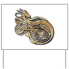 Gold Norse Dragon Yard Sign