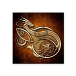 """Gold Norse Dragon Square Sticker 3"""" x 3"""""""