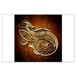 Gold Norse Dragon Large Poster