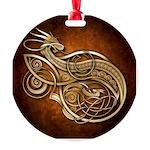 Gold Norse Dragon Round Ornament