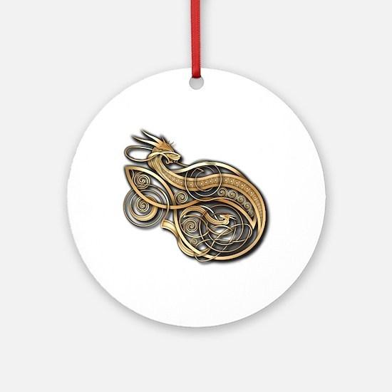 Gold Norse Dragon Ornament (Round)