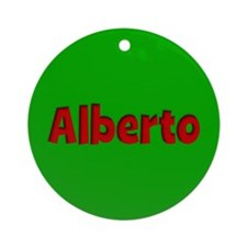 Alberto Green and Red Ornament (Round)