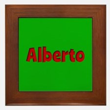 Alberto Green and Red Framed Tile