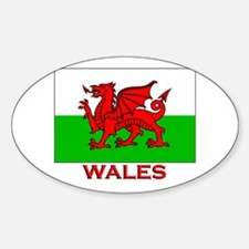 Wales Flag Gear Oval Decal
