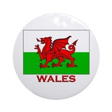 Wales Flag Gear Ornament (Round)