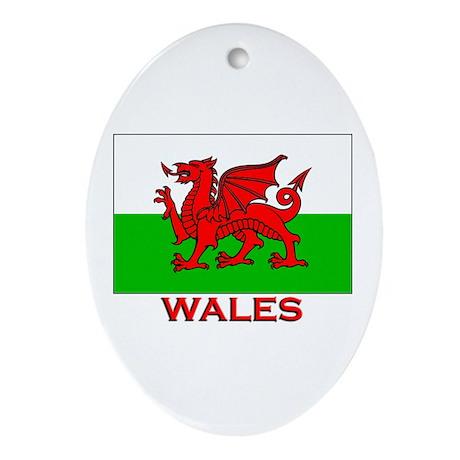 Wales Flag Gear Oval Ornament