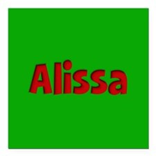 """Alissa Green and Red Square Car Magnet 3"""" x 3"""""""