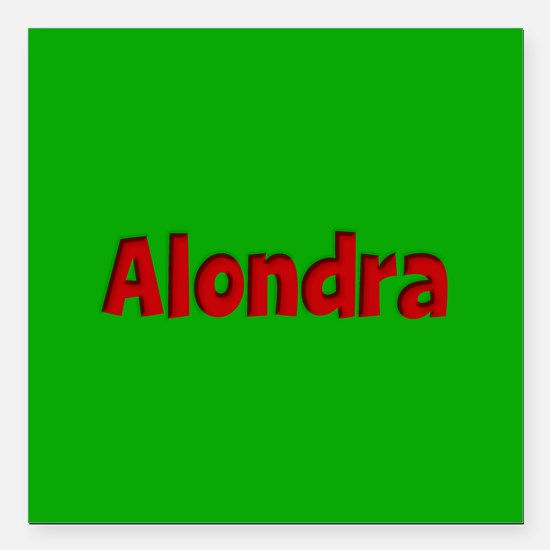 "Alondra Green and Red Square Car Magnet 3"" x 3"""