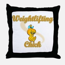 Weightlifting Chick #2 Throw Pillow