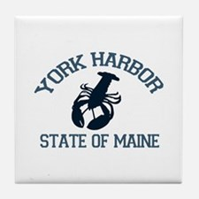York Harbor ME - Lobster Design. Tile Coaster