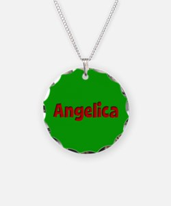 Angelica Green and Red Necklace Circle Charm