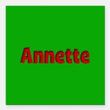 """Annette Green and Red Square Car Magnet 3"""" x 3"""""""