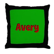 Avery Green and Red Throw Pillow