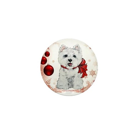Westie Red Christmas Mini Button