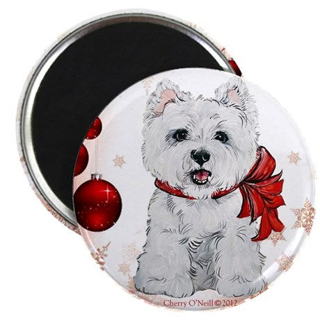 """Westie Red Christmas 2.25"""" Magnet (100 pack)"""