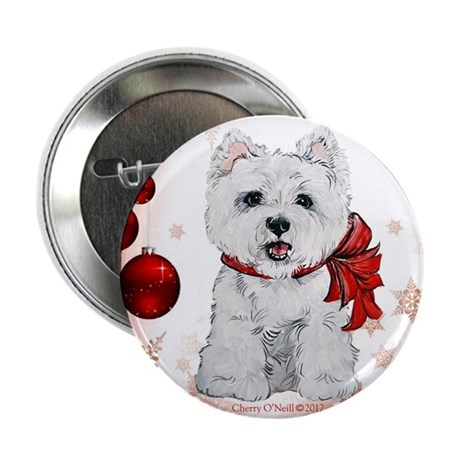"""Westie Red Christmas 2.25"""" Button (100 pack)"""