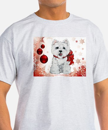 Westie Red Christmas T-Shirt