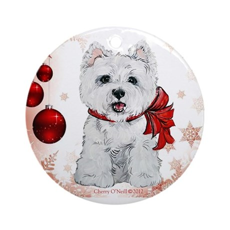 Westie Red Christmas Ornament (Round)