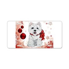 Westie Red Christmas Aluminum License Plate