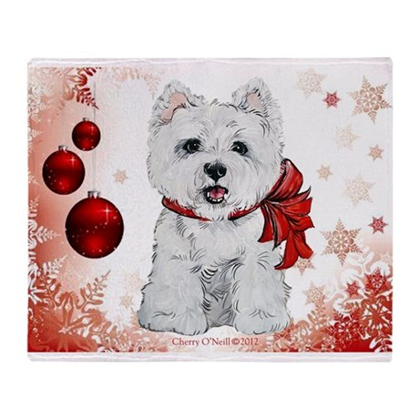 Westie Red Christmas Throw Blanket