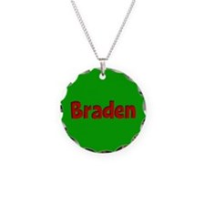 Braden Green and Red Necklace Circle Charm