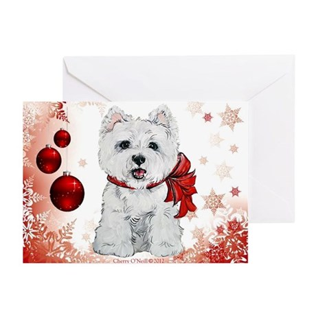 Westie Red Christmas Greeting Cards (Pk of 20)