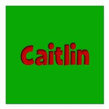 "Caitlin Green and Red Square Car Magnet 3"" x 3"""