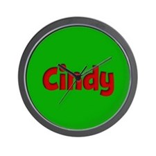 Cindy Green and Red Wall Clock