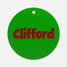 Clifford Green and Red Ornament (Round)