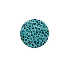 Teal Leopard Print Pattern. Mini Button