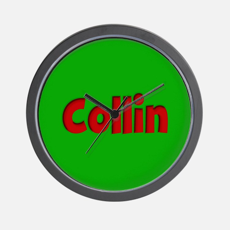 Collin Green and Red Wall Clock