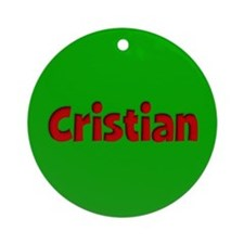 Cristian Green and Red Ornament (Round)