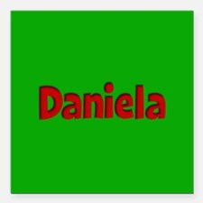 "Daniela Green and Red Square Car Magnet 3"" x 3"""