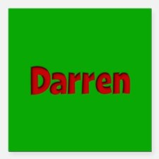 "Darren Green and Red Square Car Magnet 3"" x 3"""
