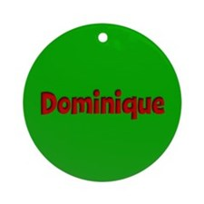 Dominique Green and Red Ornament (Round)