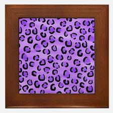 Purple Leopard Print. Framed Tile