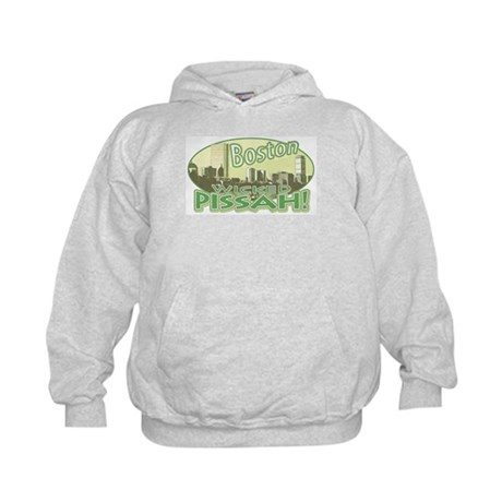 Green Boston Skyline Kids Hoodie