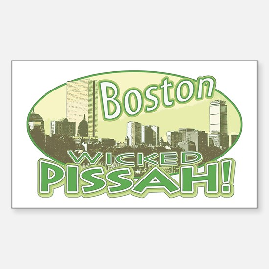 Green Boston Skyline Rectangle Decal
