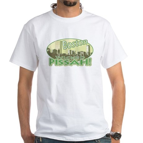 Green Boston Skyline White T-Shirt