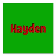 "Hayden Green and Red Square Car Magnet 3"" x 3"""