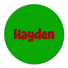 Hayden Green and Red Round Car Magnet