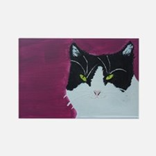 Black and White Cat Rectangle Magnet