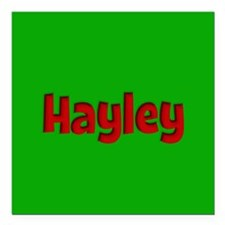 "Hayley Green and Red Square Car Magnet 3"" x 3"""