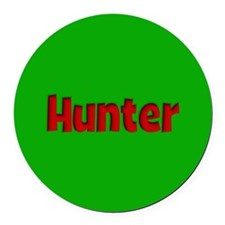 Hunter Green and Red Round Car Magnet