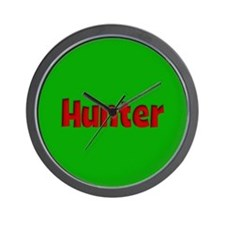 Hunter Green and Red Wall Clock