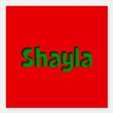 """Shayla Red and Green Square Car Magnet 3"""" x 3"""""""