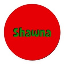 Shawna Red and Green Round Car Magnet