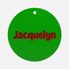Jacquelyn Green and Red Ornament (Round)