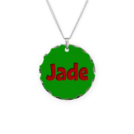 Jade Green and Red Necklace Circle Charm
