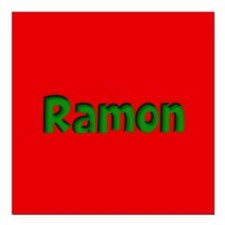 """Ramon Red and Green Square Car Magnet 3"""" x 3"""""""